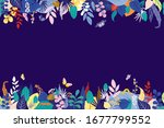 colorful floral composition on... | Shutterstock .eps vector #1677799552
