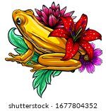 Tropical Frog With Flowers...