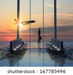 image of woman in airport... | Shutterstock . vector #167785496