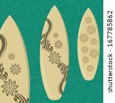 three surfboards with different ...   Shutterstock .eps vector #167785862