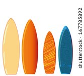 four different surfboards with... | Shutterstock .eps vector #167785892