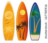 three colored surfboards with...   Shutterstock .eps vector #167785916