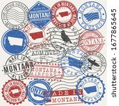 montana  usa set of stamps.... | Shutterstock .eps vector #1677865645
