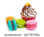 cupcake and macaroons on white... | Shutterstock . vector #167787356