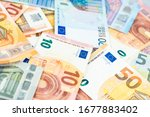pile of paper euro banknotes ... | Shutterstock . vector #1677883402
