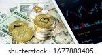 stacks of bitcoins on paper... | Shutterstock . vector #1677883405