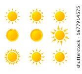 sun icon set isolated on white... | Shutterstock .eps vector #1677914575