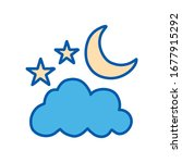 moon stars and cloud line and... | Shutterstock .eps vector #1677915292