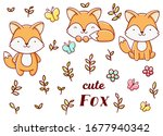 set cute kawaii hand drawn fox... | Shutterstock .eps vector #1677940342
