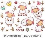 set cute kawaii hand drawn... | Shutterstock .eps vector #1677940348