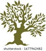 decorative vector olive tree...   Shutterstock .eps vector #1677962482