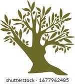 decorative vector olive tree...   Shutterstock .eps vector #1677962485