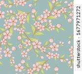 cherry blossom seamless pattern....   Shutterstock .eps vector #1677971272