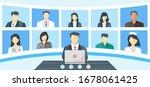 global crisis teleconference ... | Shutterstock .eps vector #1678061425