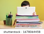 boy using the tablet while... | Shutterstock . vector #1678064458