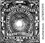 British East Africa Stamp (2 rupees) from 1890, an adhesive piece of paper was stuck to something to show an amount of money paid, a postage stamp, vintage line drawing or engraving illustration.