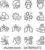 lung disease icon set vector... | Shutterstock .eps vector #1678096372