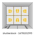 elevator lift floor with tape... | Shutterstock .eps vector #1678101595