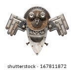 Stock photo stylized metal collage of owl isolated 167811872
