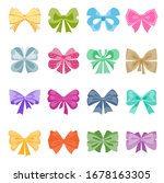 gift bows colorful flat vector... | Shutterstock .eps vector #1678163305