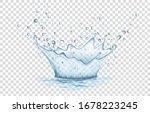 blue water splash and drops...   Shutterstock .eps vector #1678223245