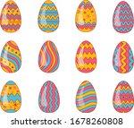 set of easter eggs. easter... | Shutterstock .eps vector #1678260808