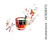 Colorful music background. Traditional Turkish drum design vector.  - stock vector