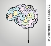 multicolored drawn brain on a... | Shutterstock .eps vector #167830772