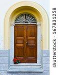 wooden ancient italian door in... | Shutterstock . vector #167831258