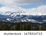 Keystone, CO - USA - 03/17/2018  A panoramic view of Breckenridge ski resort. This was taken during early spring of 2018 from the summit of Keystone Mountain. - stock photo