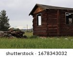 Old Rustic Wooden Shack On...