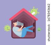 self quarantine isolation. man... | Shutterstock .eps vector #1678343662