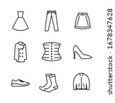fashion icon set with outline...