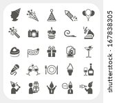 celebration and party icons set | Shutterstock .eps vector #167838305