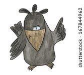 Raven. Watercolor Crow.  Black...