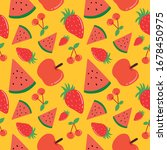 pattern with many kind of fruit | Shutterstock .eps vector #1678450975