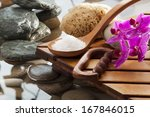sea salt and massage tools next ... | Shutterstock . vector #167846015