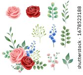 hand drawn vintage pink  red... | Shutterstock .eps vector #1678523188