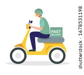 delivery service. a man riding... | Shutterstock .eps vector #1678531198