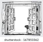 illustration of opened window | Shutterstock .eps vector #167853362