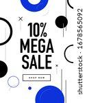 10  off mega sale flyer design. ... | Shutterstock .eps vector #1678565092