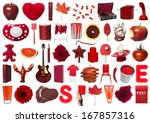 Collage Of Red Objects On Whit...