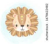 watercolor tribal lion... | Shutterstock .eps vector #1678622482