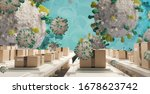 packages and symbolic virus...   Shutterstock . vector #1678623742