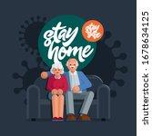 happy elderly couple sitting on ... | Shutterstock .eps vector #1678634125