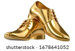 Golden shoes as a concept of luxury expensive high-quality shoes. 3d rendering illustration of a pair of fashionable gold mens shoes isolated on white background.