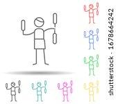 juggling multi color set icon....