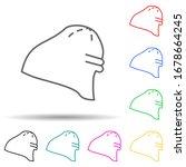 winter hat multi color set icon....