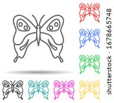 butterfly multi color set icon. ...
