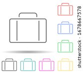 suitcase multi color set icon....